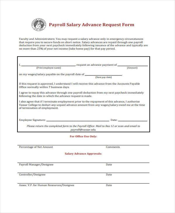 Sample Payroll Advance Forms   8+ Free Sample, Example Format Download