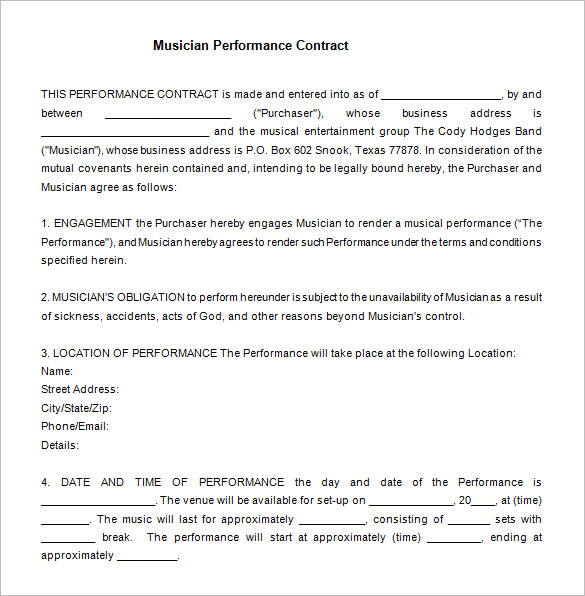 12+ Performance Contract Templates   Free Word, PDF Documents