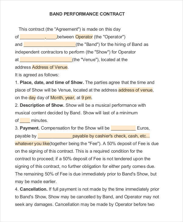 music performance agreement template 9 performance contract