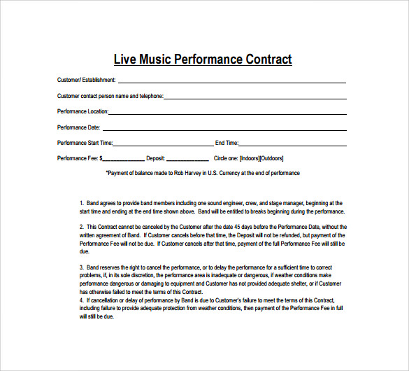 Music Performance Agreement Template Sample Contract
