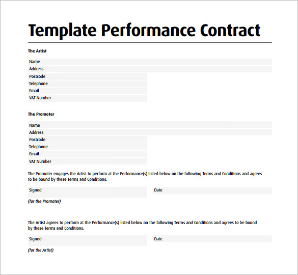 12 Performance Contract Templates to Download for Free | Sample