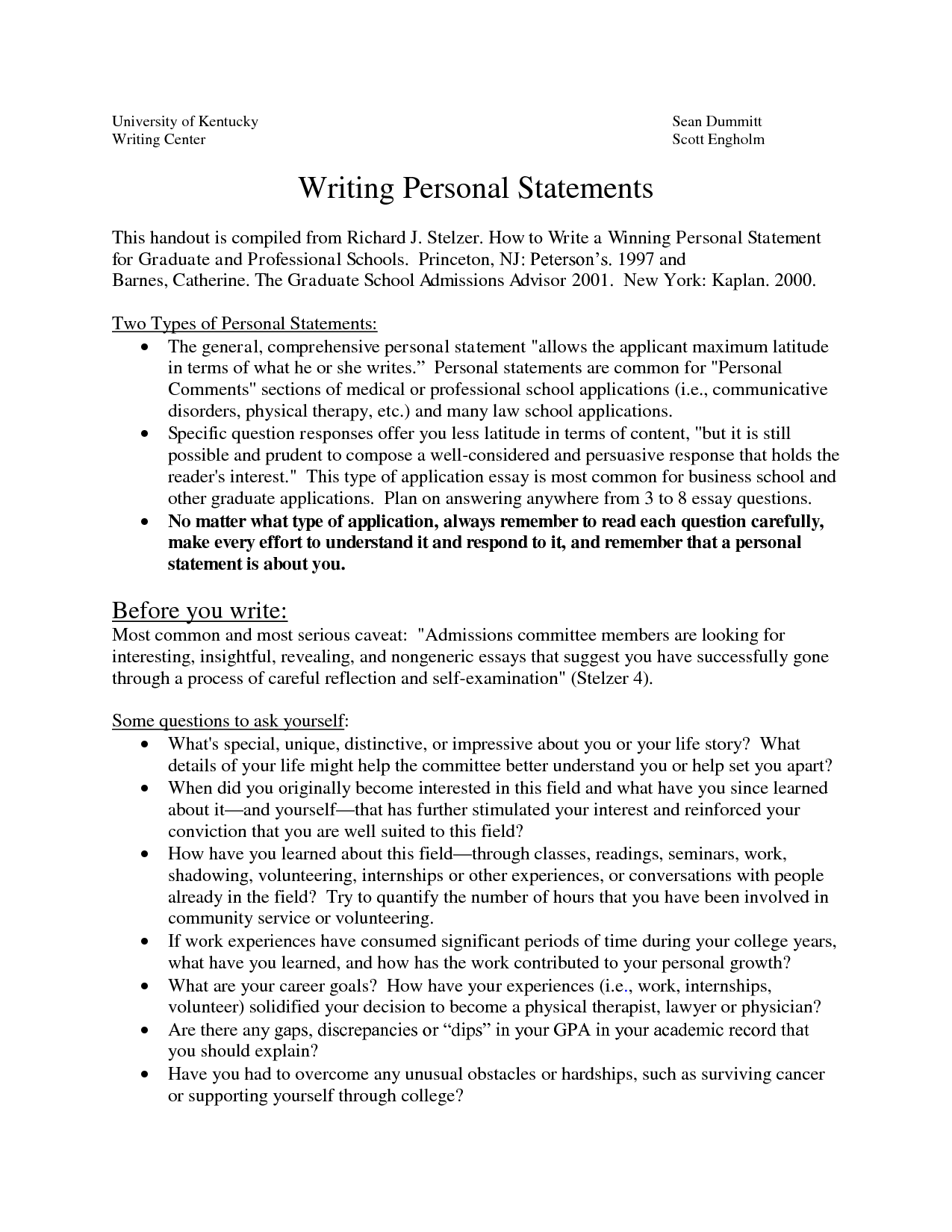 Sample Personal Statements Graduate School | how to write a