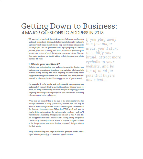Photography Business Plan Template – 11+ Free Word, Excel, PDF