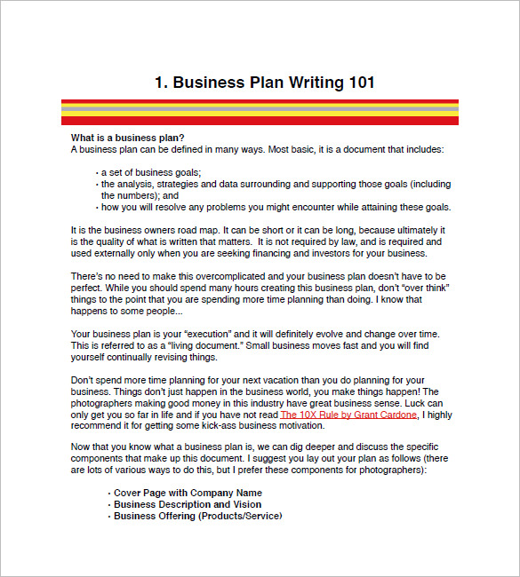 Sample Business Paln Photography Business Plan Template 12 Free