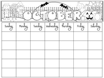 FREE BLANK MONTHLY CALENDARS EDITABLE   TeachersPayTeachers.