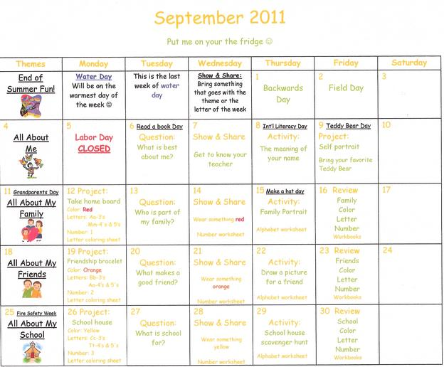 Sample Preschool Calendar. Sample Calendar NormaS Kiddie Preschool