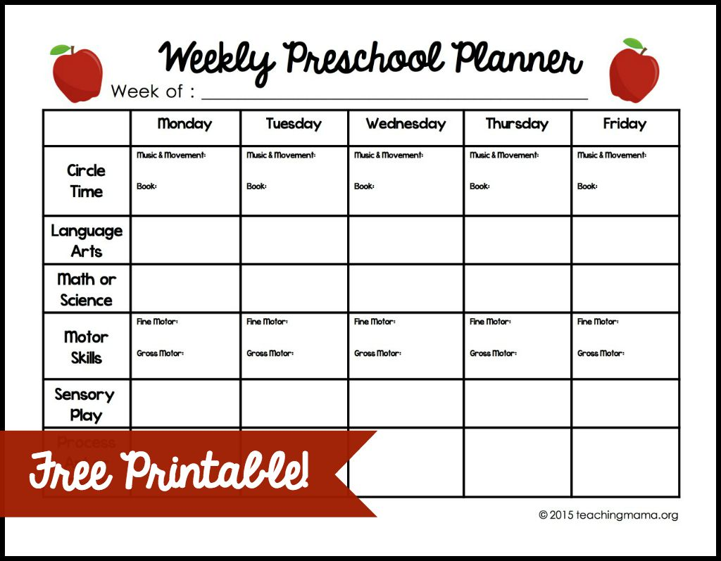Weekly Preschool Lesson Plan Template | Teacherplanet.com