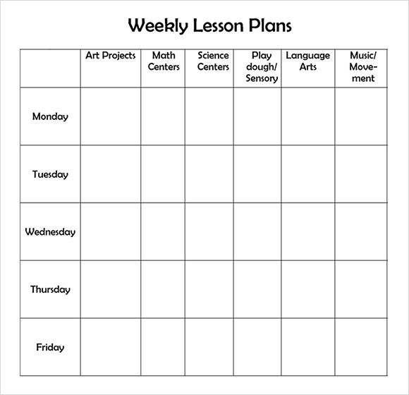 weekly lesson planner template word   Ecza.solinf.co
