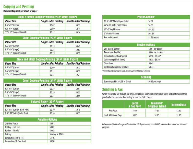 Printable Price List   Free Template for Excel