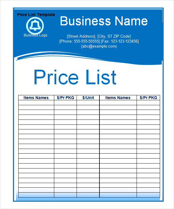 Price Sheet Template PSD ~ Templates ~ Creative Market