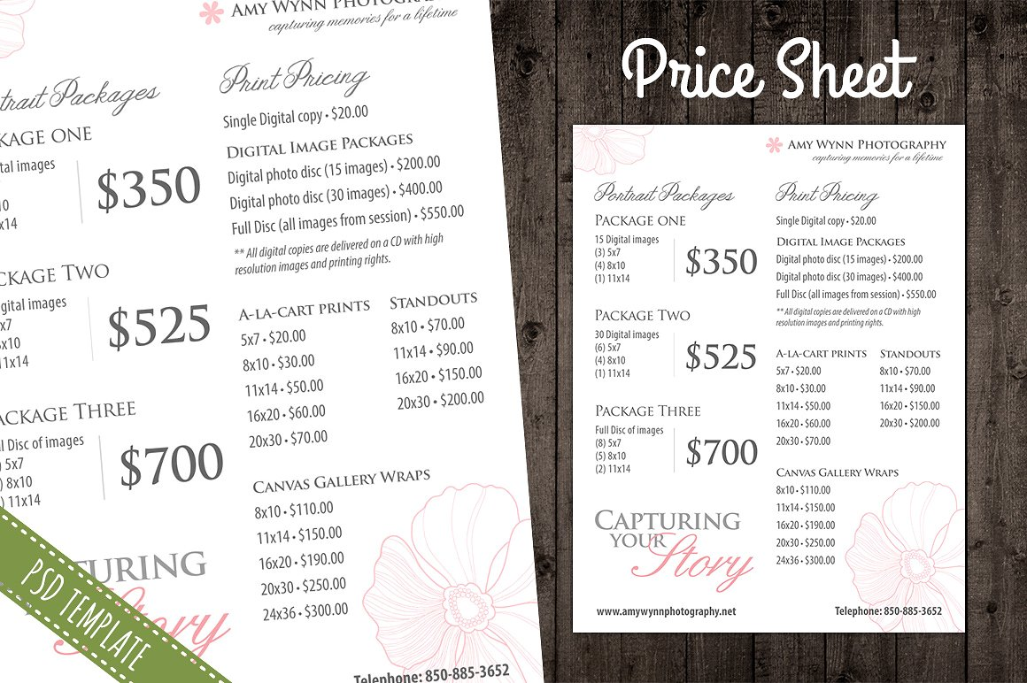 Pricing sheet template emmamcintyrephotography pricing sheet template flashek Image collections