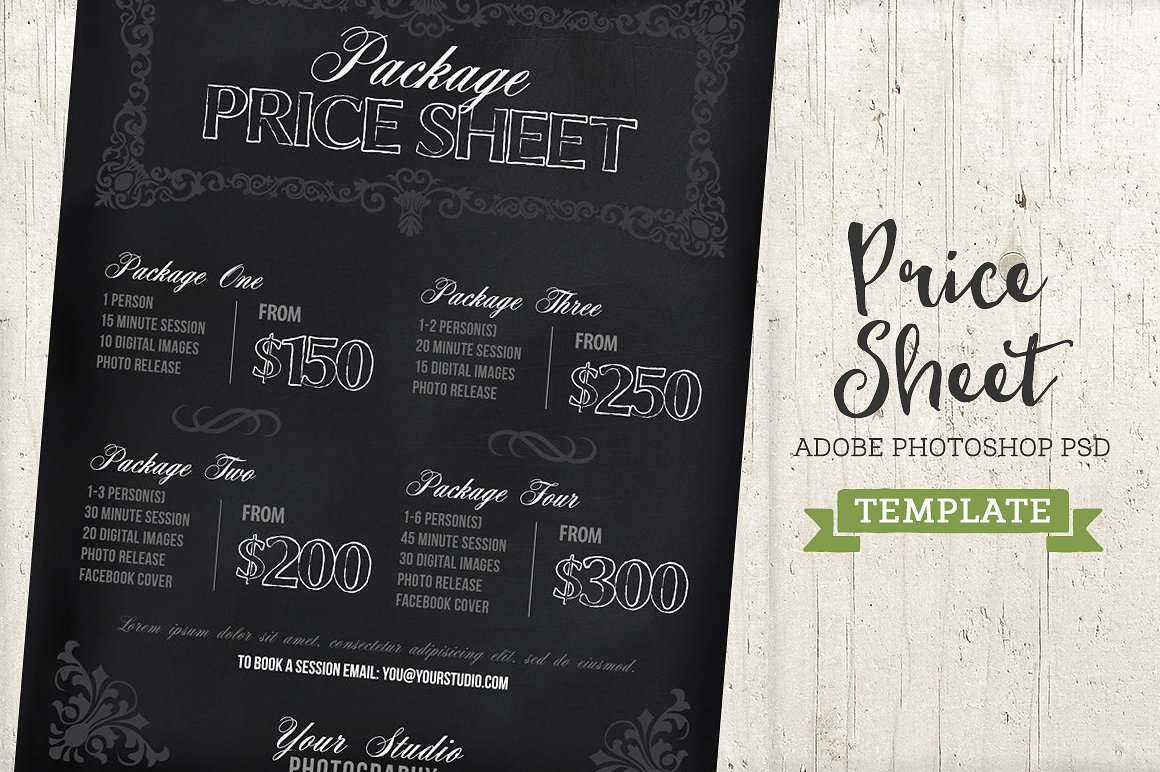 Chalkboard Price List Sheet Template ~ Templates ~ Creative Market