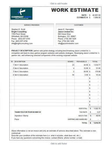 Estimate Template   Fill Online, Printable, Fillable, Blank
