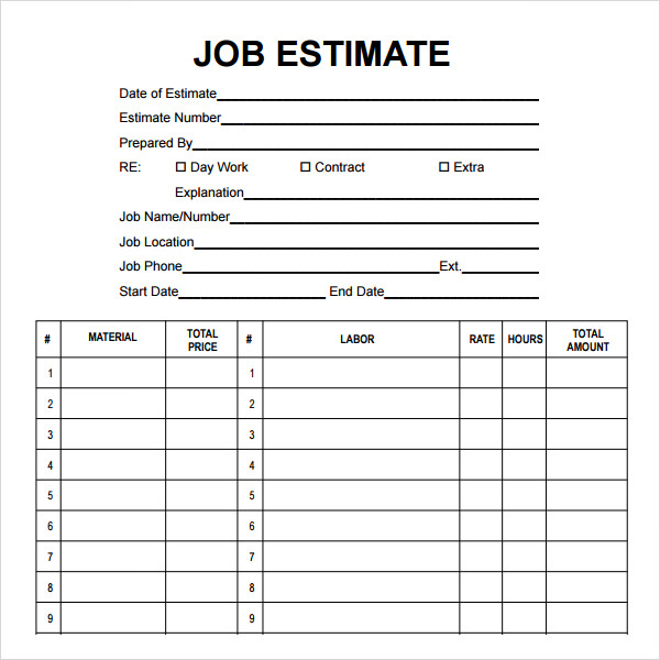 Free Printable Estimate Forms Contractors Ecza Solinf Co
