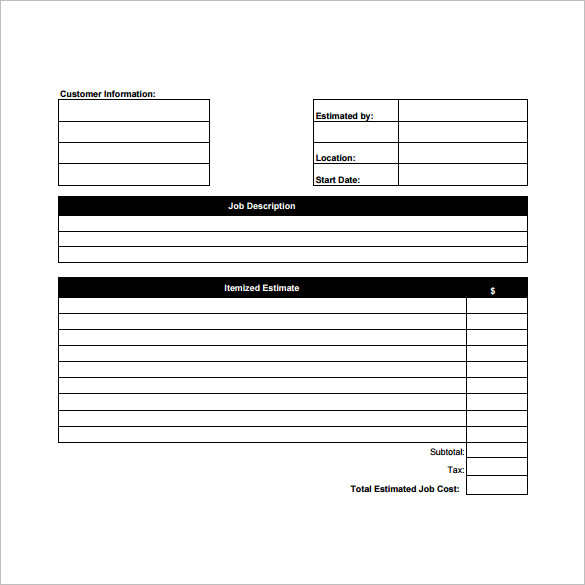 Construction Proposal Forms Free Download 11 Job Estimate
