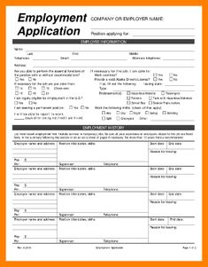 Printable Job Application Templates | Free Printable Employment