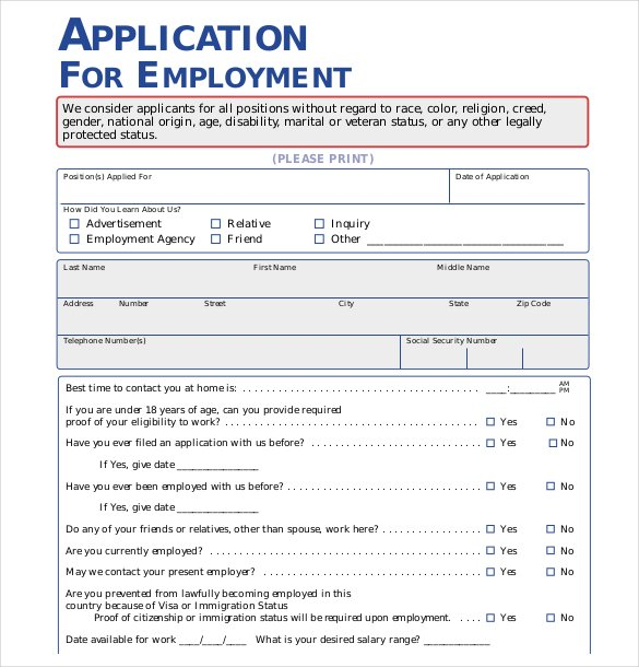 free job application template employment application template 21