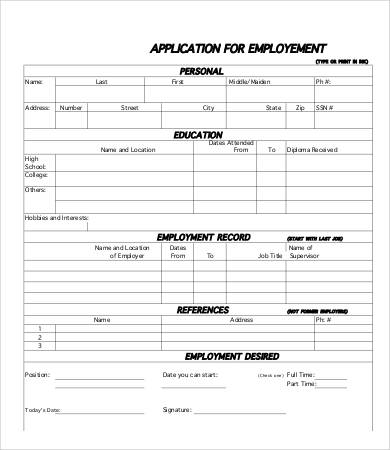 printable job application   Ecza.solinf.co