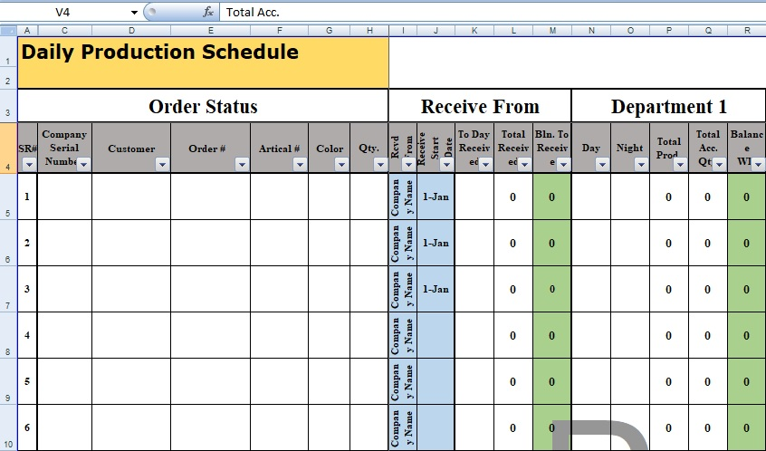 Production Schedule Template In Excel