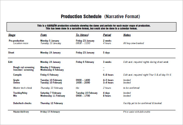 Production Schedule Template Excel | XLStemplates