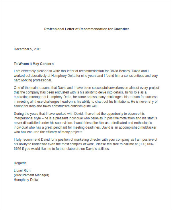 Free Professional Letter of Recommendation Template   with Samples