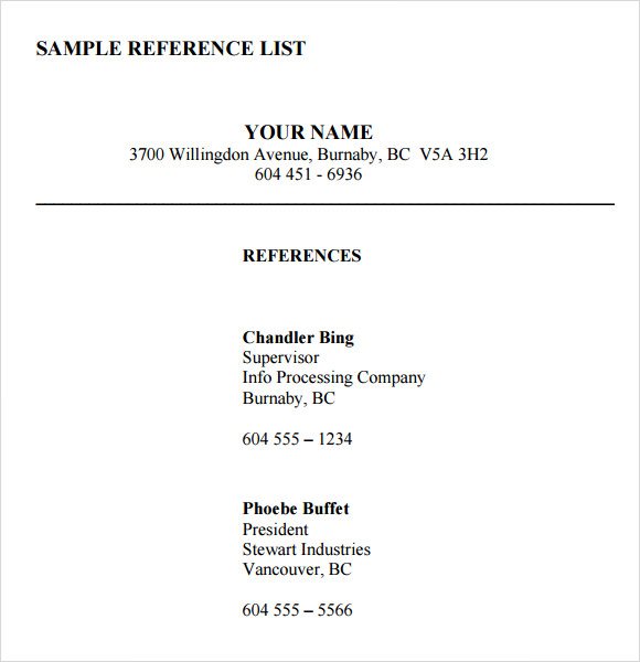 professional reference list template word