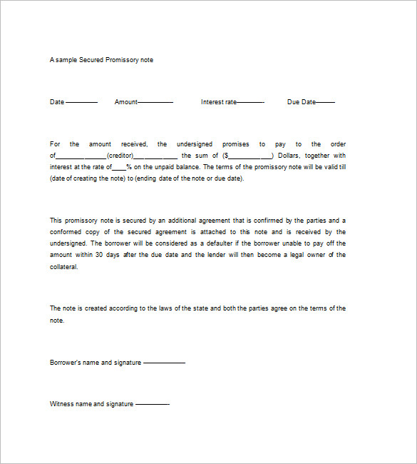 Secured Promissory Note Templates – 9+ Free Word, Excel, PDF