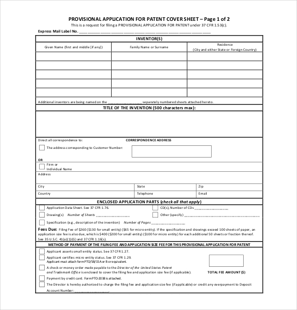 Provisional Patent Application Form   Free Template with Sample