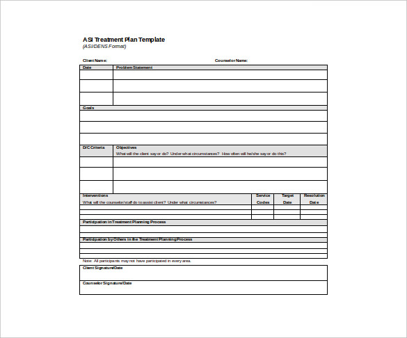 Mental Health Treatment Plan Template Sample Treatment Plan