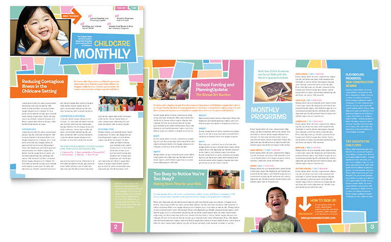 Preschool Kids & Day Care Newsletter Template   Word & Publisher