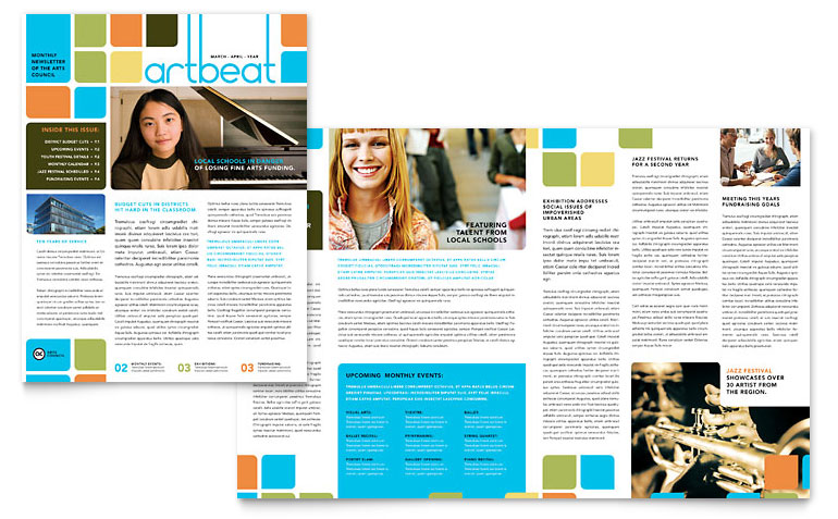 Arts Council & Education Newsletter Template   Word & Publisher