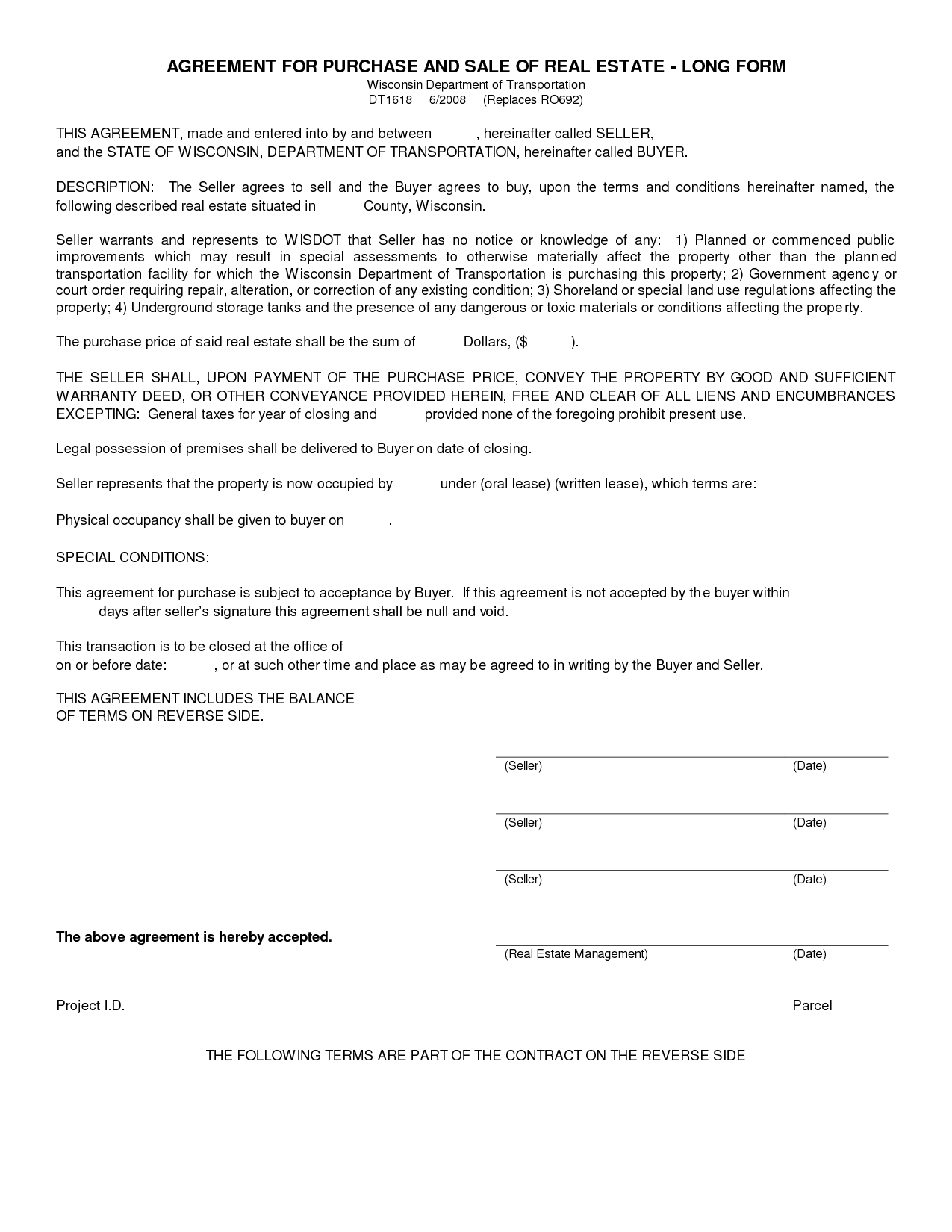 Free Blank Purchase Agreement Form Images To Letter Oft Real