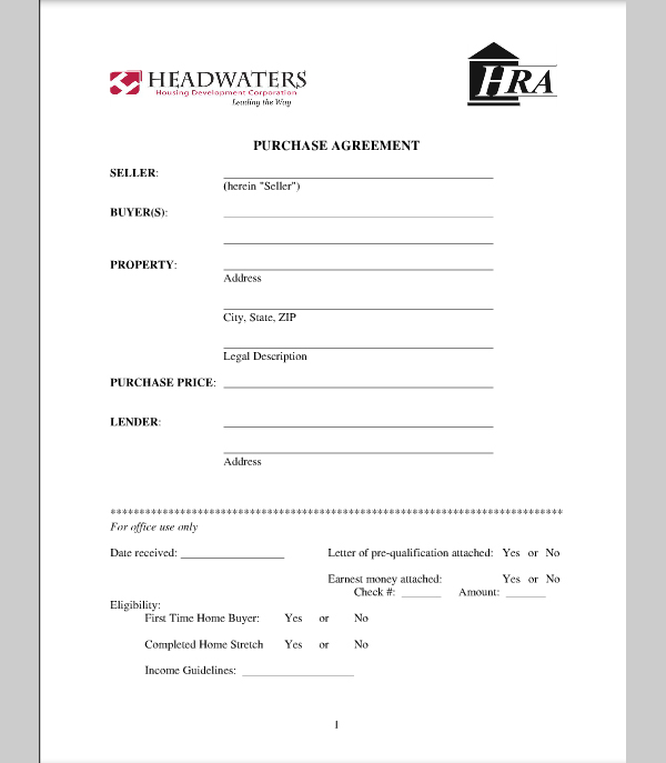 House Purchase Agreement Template Free   Schreibercrimewatch.org