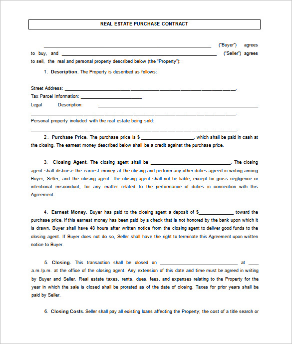 real estate agreement template 7 real estate contract templates