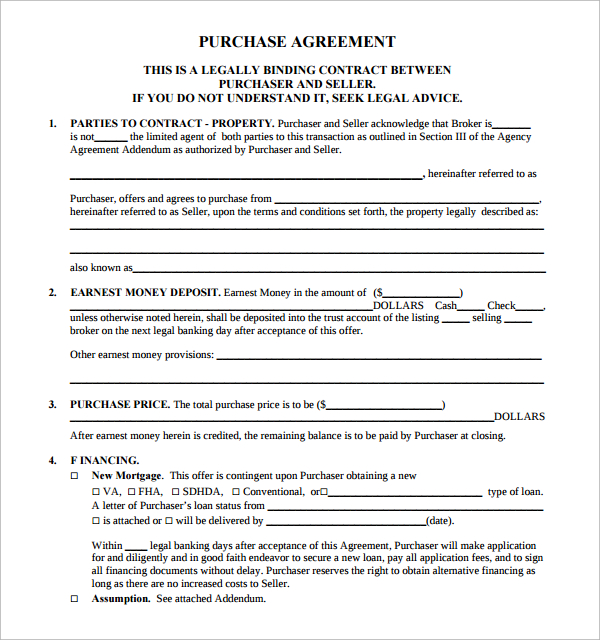 real property purchase and sale agreement template free home