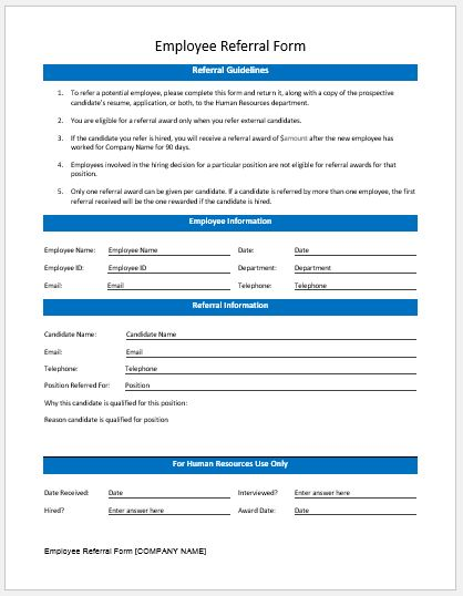 Employee Referral Form.