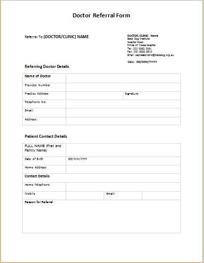 Medical Referral Form Templates – medical form templates
