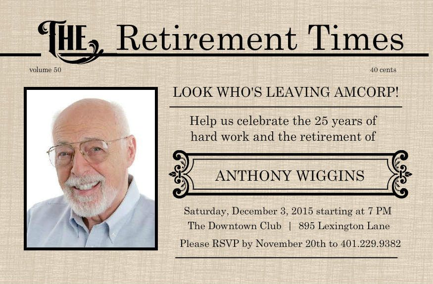 retirement flyer template free | Printable Retirement Invitations