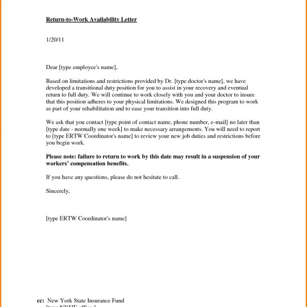 Return To Work Letter.41013765 – Letter Template Word throughout