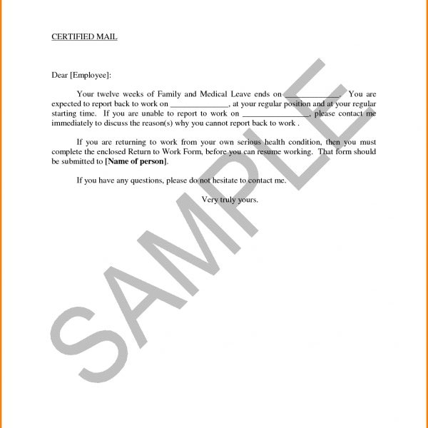 Return To Work With Restrictions Letter   Sample Letters Formats