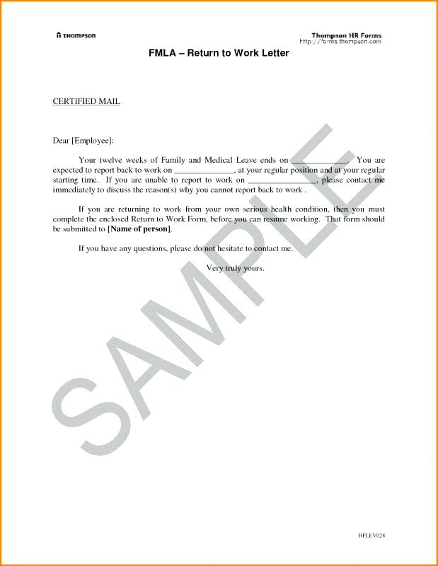 Return Work Letter Template Return To Work With Restrictions