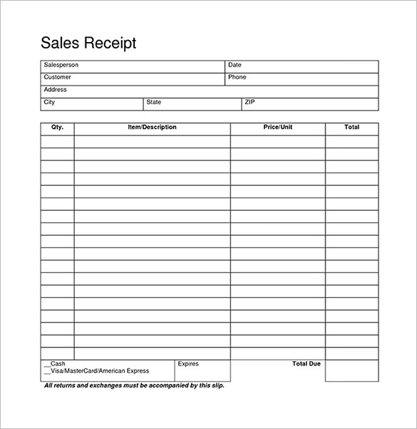 Retail Receipt Template Sales 7 Free Templates Word Excel Forms