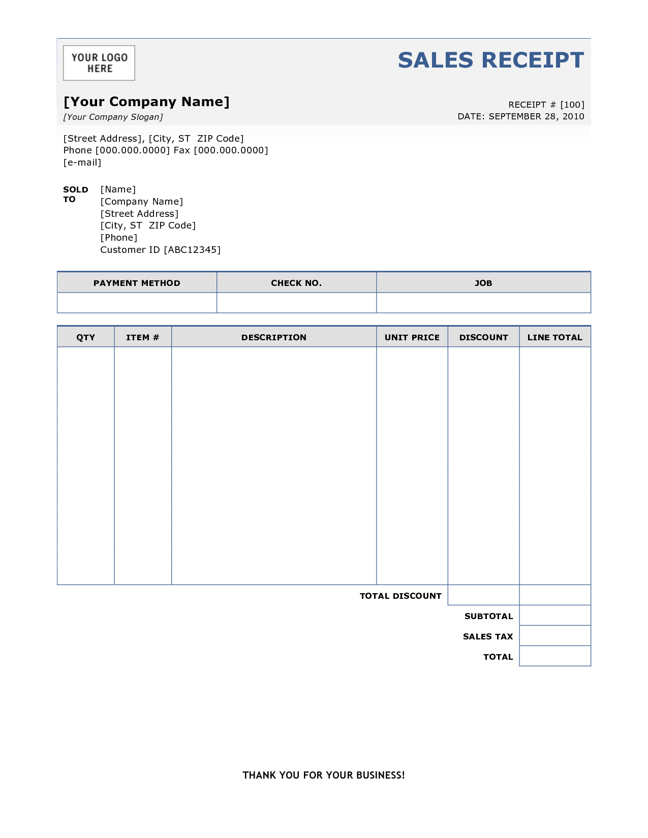 Sales Receipt | Free Sales Receipt Template for Excel