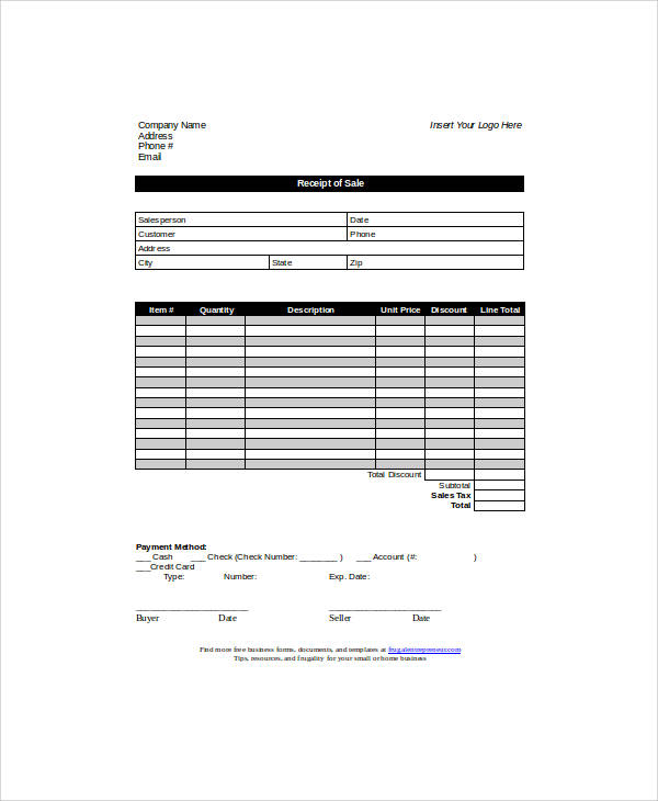 Sale Receipt Form Sample Sales Receipt Form 6 Examples In Word Pdf