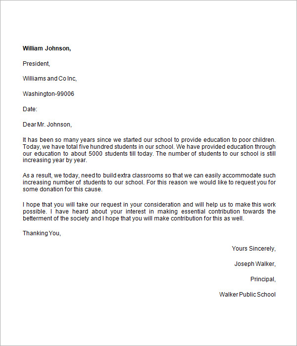 Collection Of solutions Sample Letter asking for Donations School
