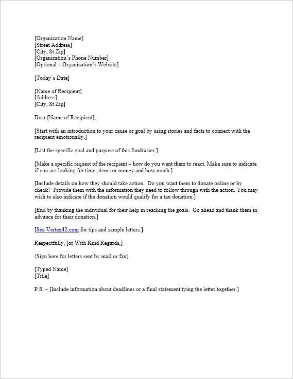Free Request for Donation Letter Template | Sample Donation Letters