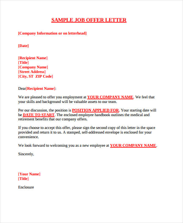 Job Offer Letter   Employment Offer Letter Template (with Sample)