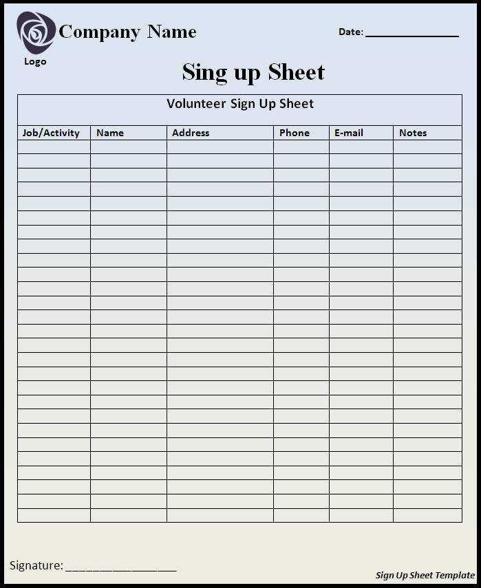 sample signup sheet   Ecza.solinf.co