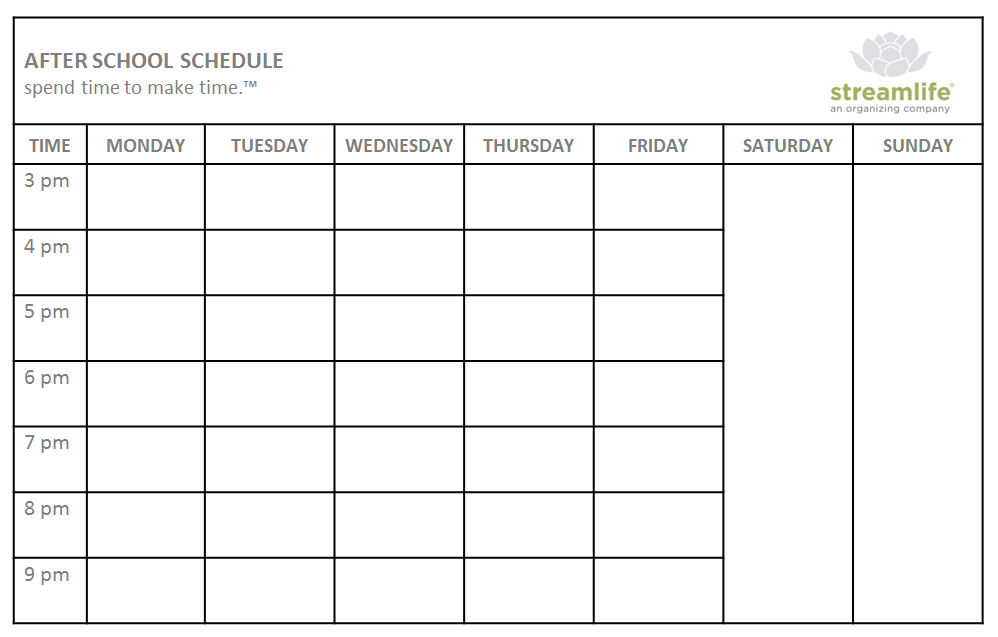 After School Weekly Planner And Schedule Template : V m d.com