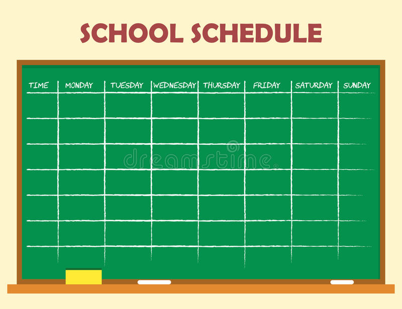 School schedule template stock vector. Illustration of school